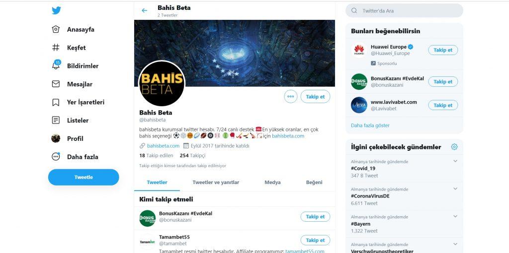 bahisbeta sosyal medya hesapları